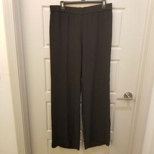 Eileen Fisher Black Silk Slack Pants Sz M Wide Leg